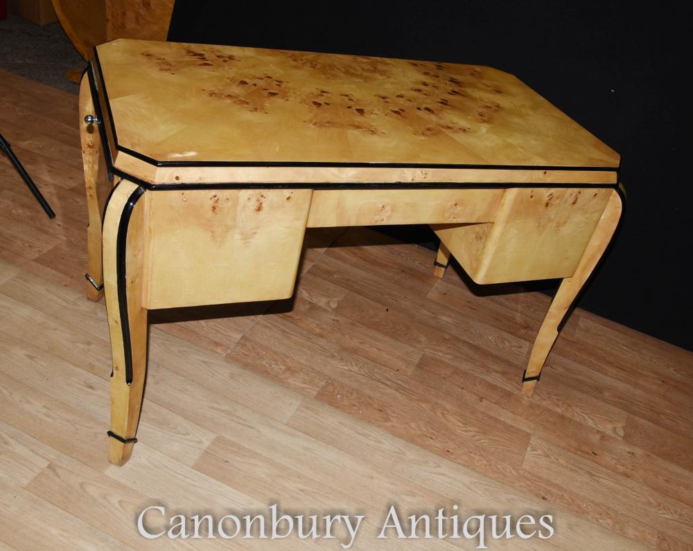 art deco desk writing table bureau blonde walnut. Black Bedroom Furniture Sets. Home Design Ideas