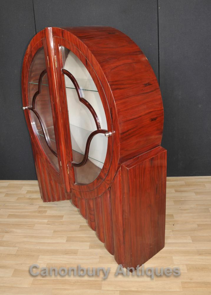 Art Deco Glass Display Cabinet Bookcase Vintage Furniture