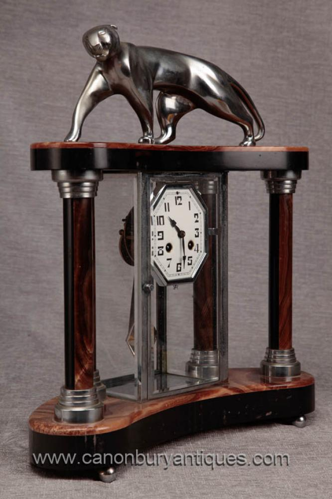 Art Deco Marble Chrome Mantle Clock Silver Patina Panther