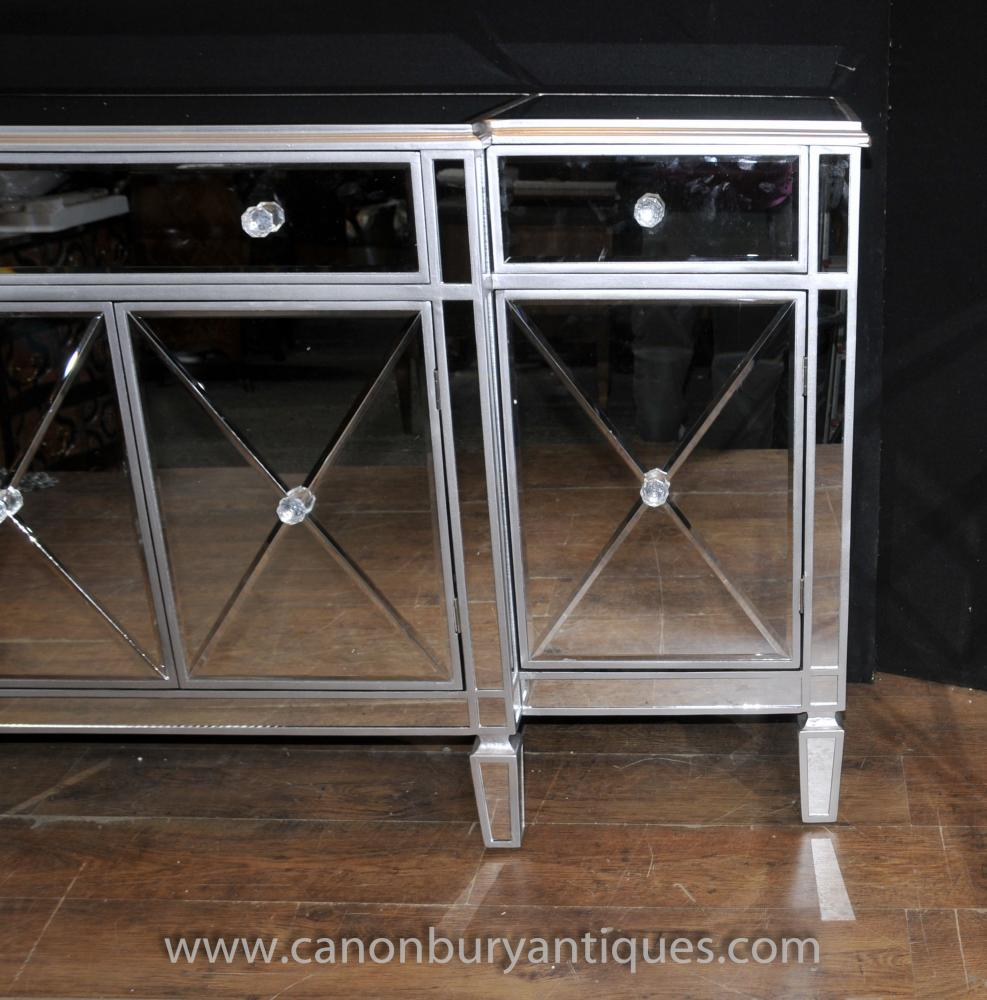 Art Deco Mirrored Breakfront Sideboard Server Buffet