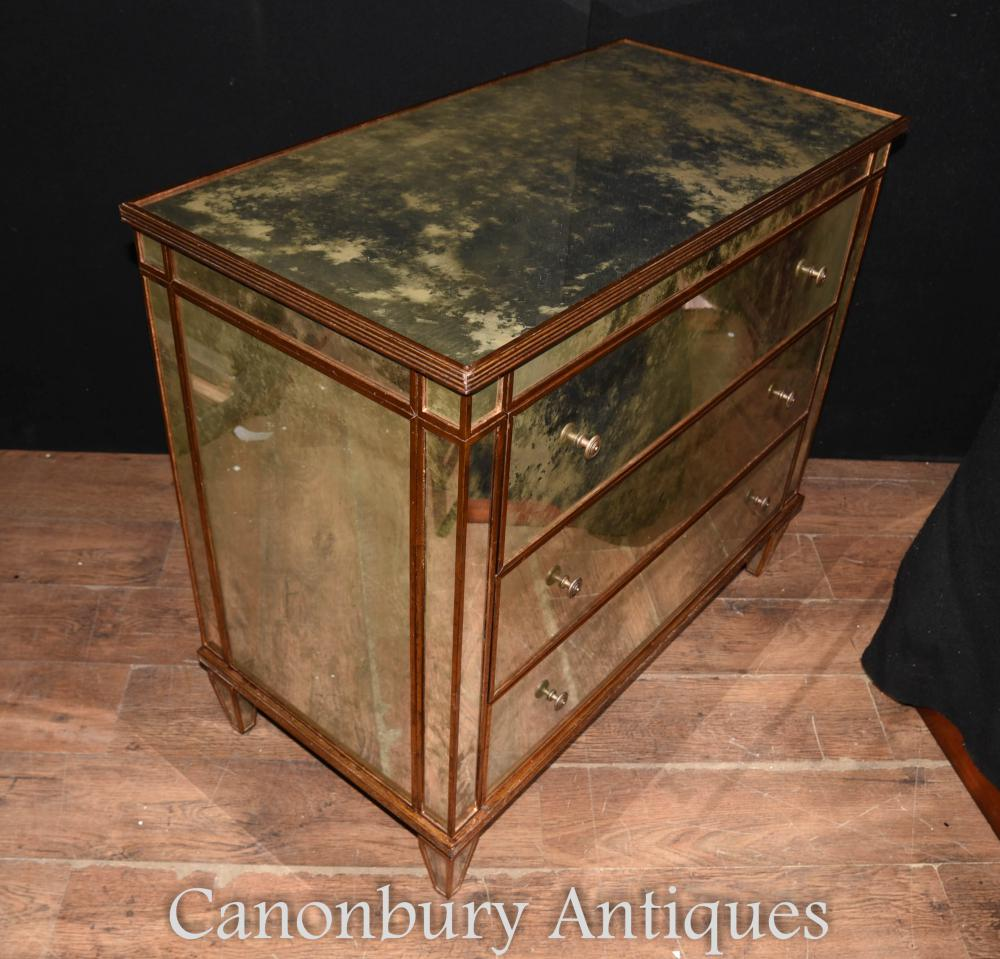 art deco mirrored chest of drawers antiqued glass mirror commode. Black Bedroom Furniture Sets. Home Design Ideas