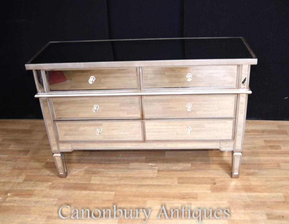 art deco mirrored commode chest of drawers double. Black Bedroom Furniture Sets. Home Design Ideas