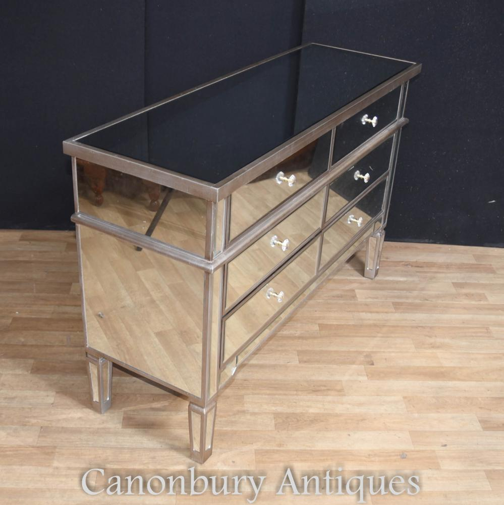 Art deco mirrored commode chest of drawers double for Commode miroir art deco