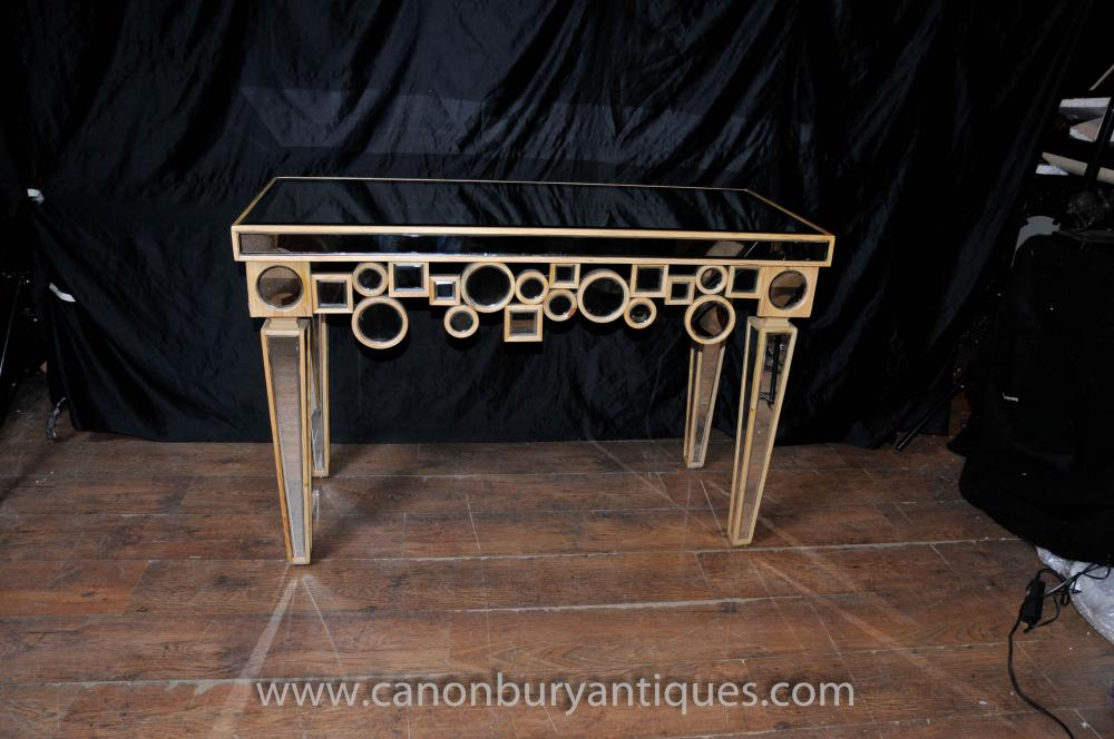 Art Deco Mirrored Console Table Hall Tables Borghese Furniture