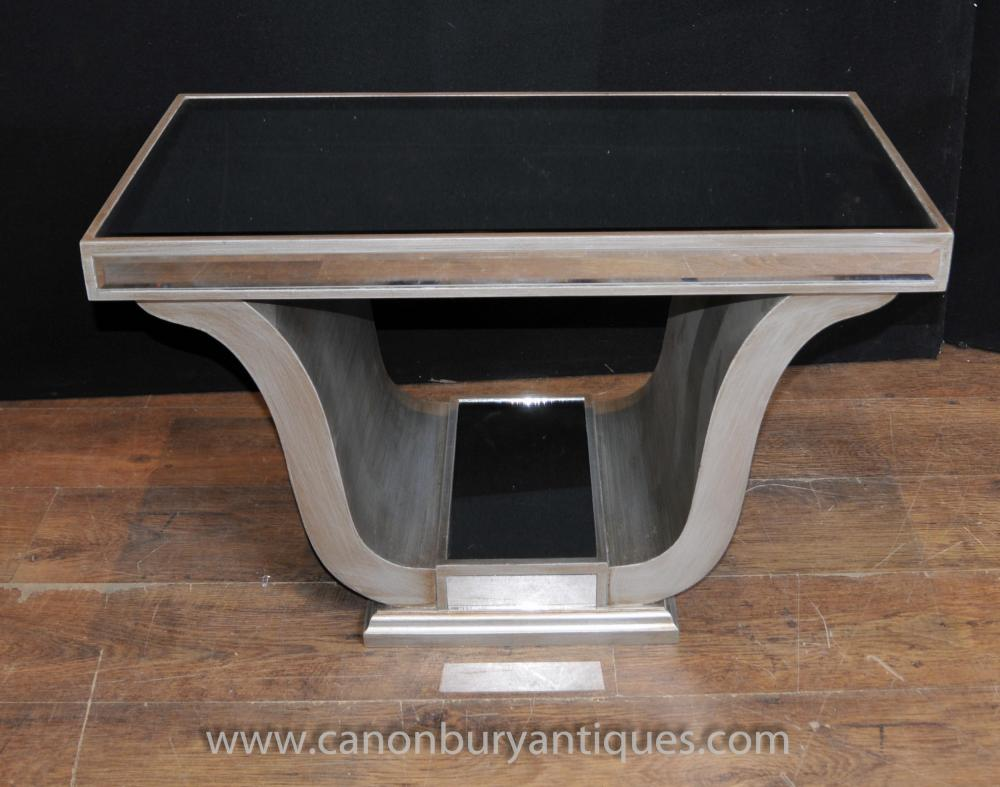 Art deco mirrored side table coffee tables furniture for Mirrored coffee table and end tables