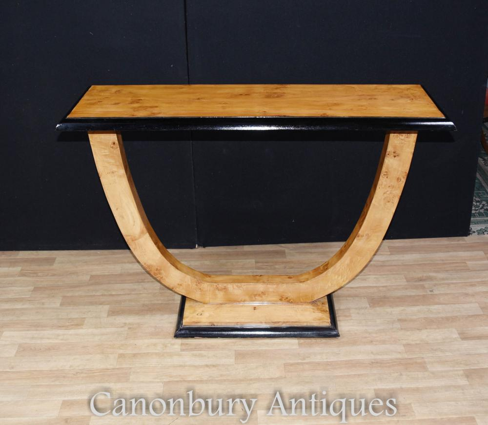 Art deco oggee console table blonde walnut hall tables for Table de nuit art deco