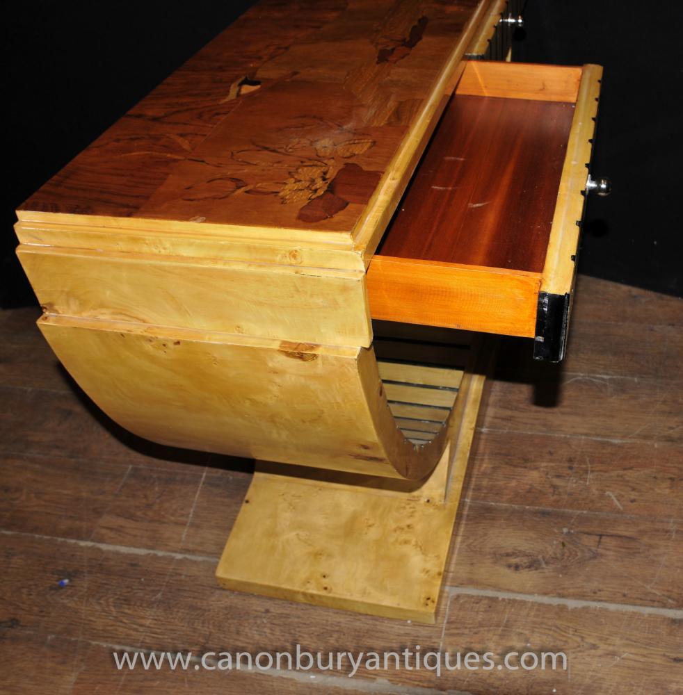 Art Deco Oggee Console Table Blonde Walnut Sofa End Hall