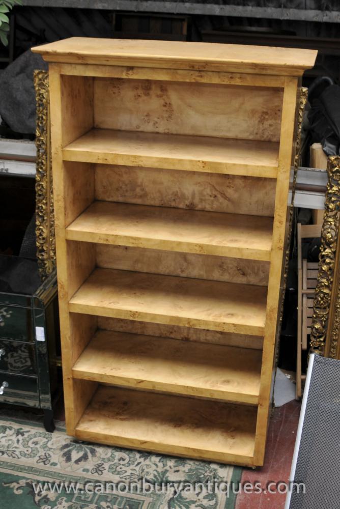 Art Deco Open Bookcase Blonde Walnut Shelf Bookcases
