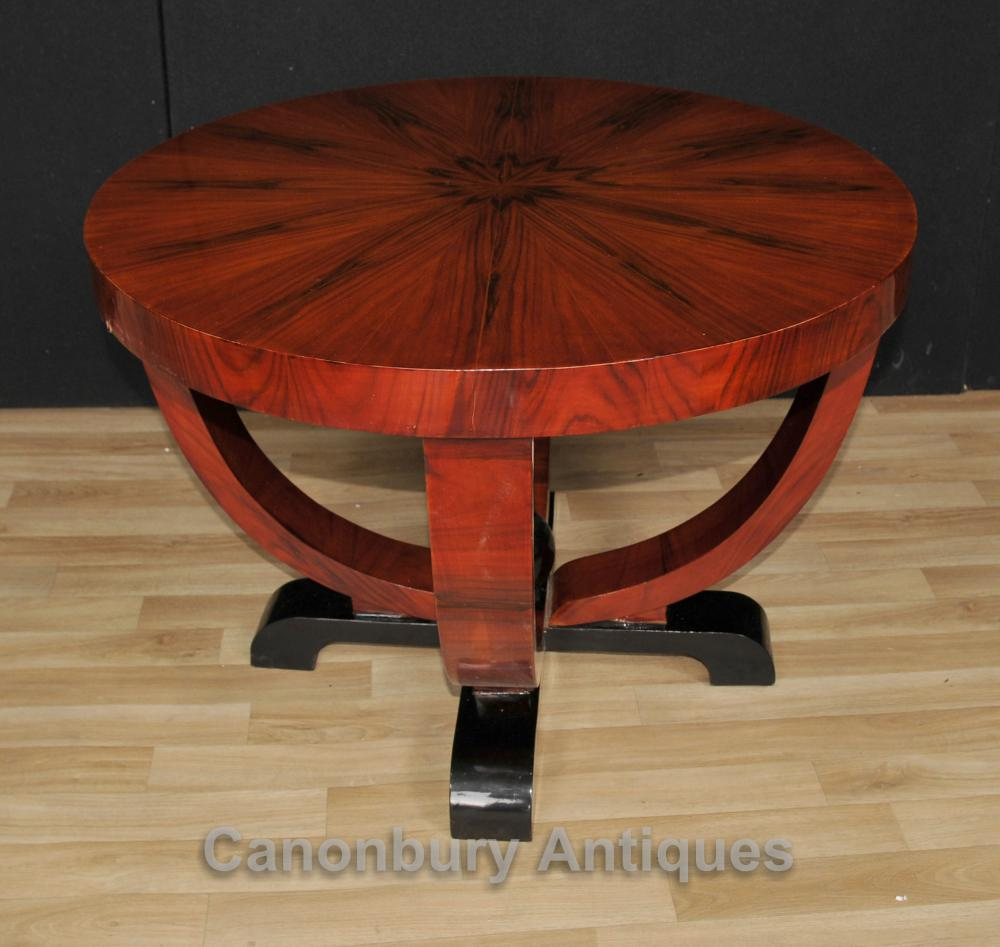Art deco round side table rosewood coffee tables vintage for Table de nuit art deco