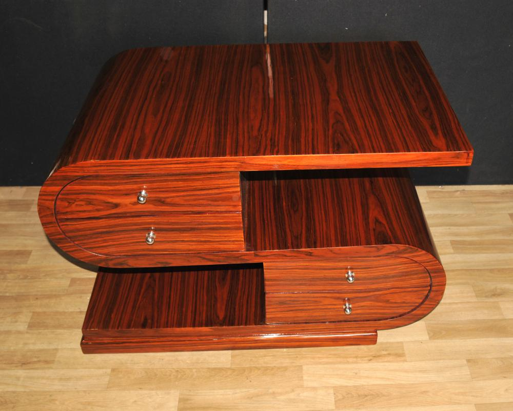 Art deco s shape coffee table rosewood modernist furniture for Deco table basse