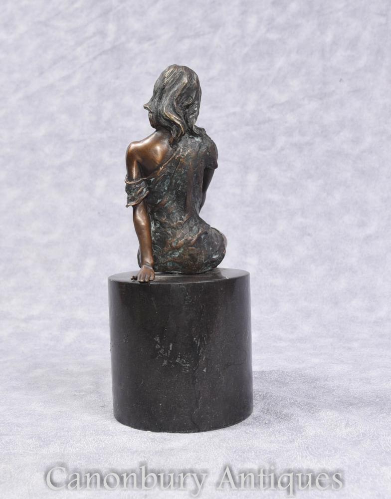 Art Deco Semi Nude Bronze Female Figurine No Marble Plinth-6351