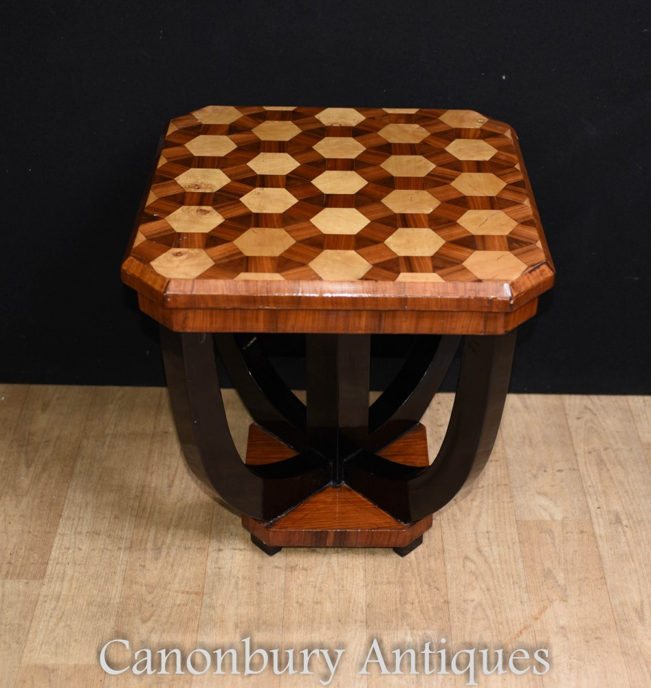 Art Deco Side Table Inlay Cocktail Tables