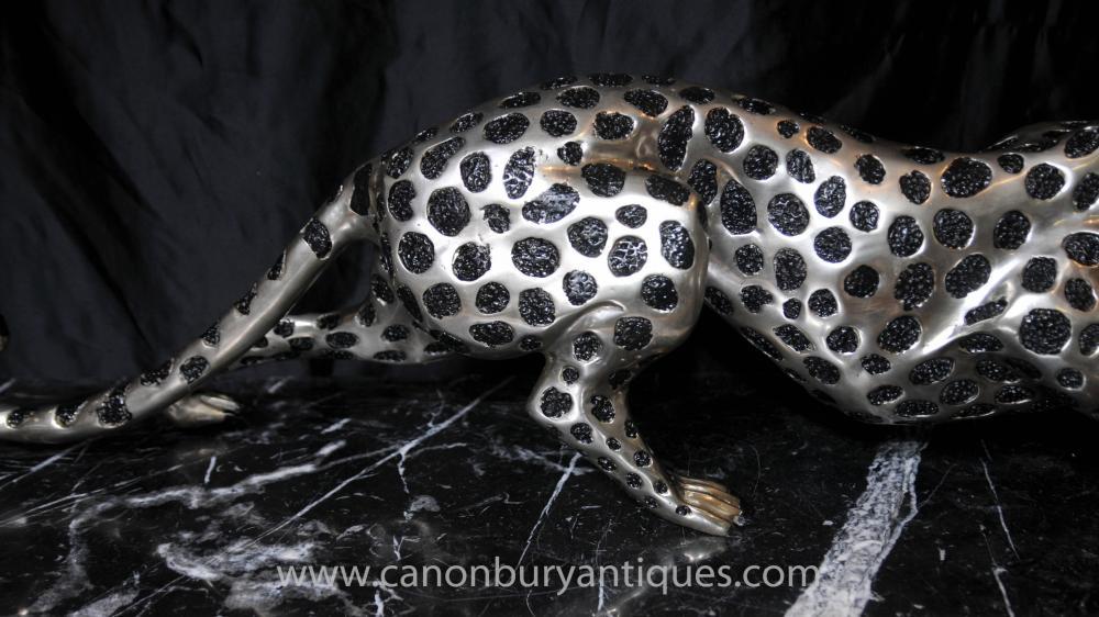 art deco silver bronze cheetah statue cats leopard feline. Black Bedroom Furniture Sets. Home Design Ideas