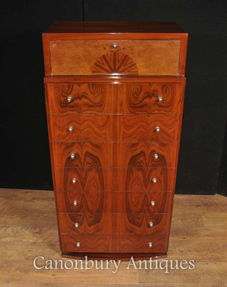 Art Deco Walnut Chest Drawers Cabinet Tall Boy Furniture