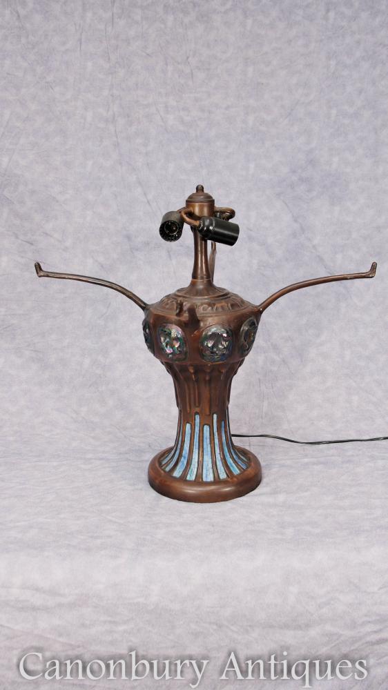Art Nouveau Bronze Tiffany Lamp Dragonfly Coloured Glass Shade