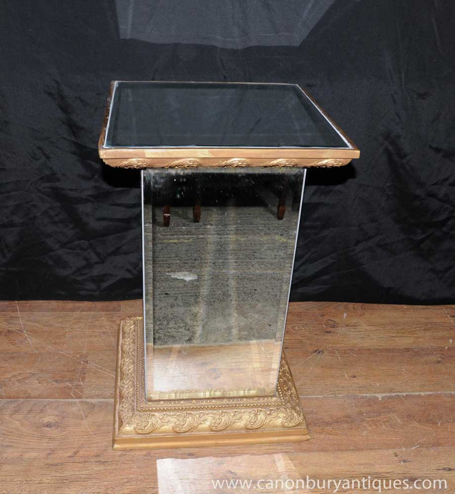 Art deco mirrored side table pedestal stand for Stand expo deco