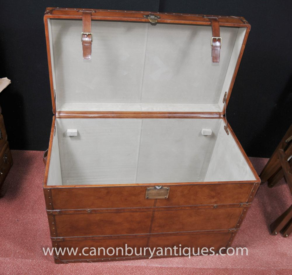Big English Leather Campaign Luggage Trunk Storage Box