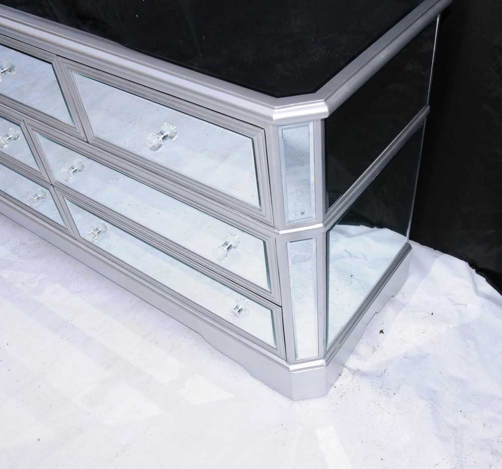Big mirrored deco chest drawers commode glass furniture Mirror glass furniture