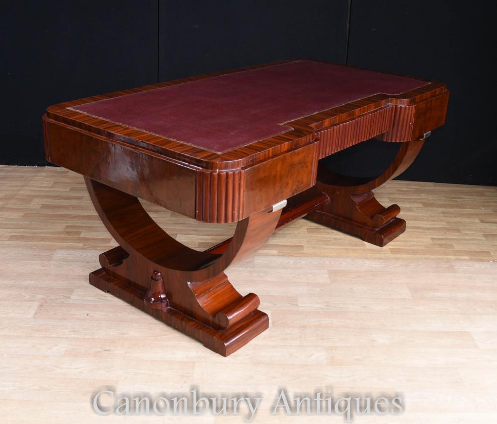 Big art deco partners desk writing table bureau 1920s for Bureau table