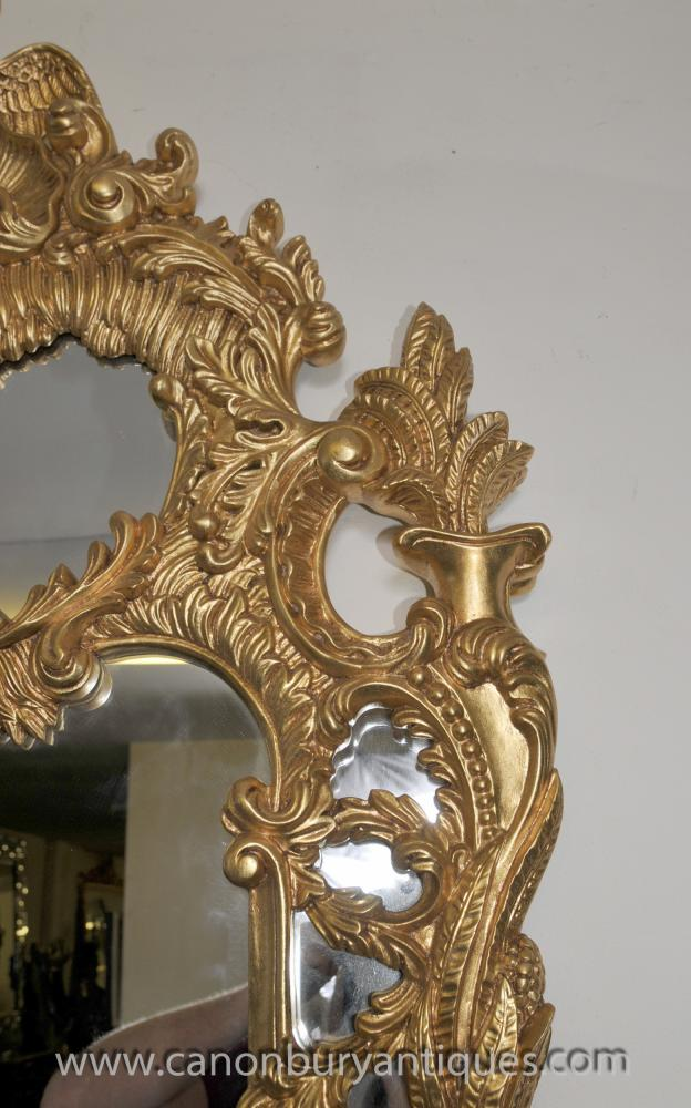 Big French Louis Xv Gilt Pier Mirror Intricate Frame Dove