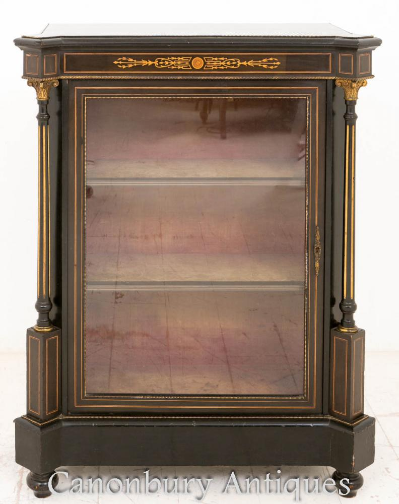 black ebonised pier display cabinet black lacquer