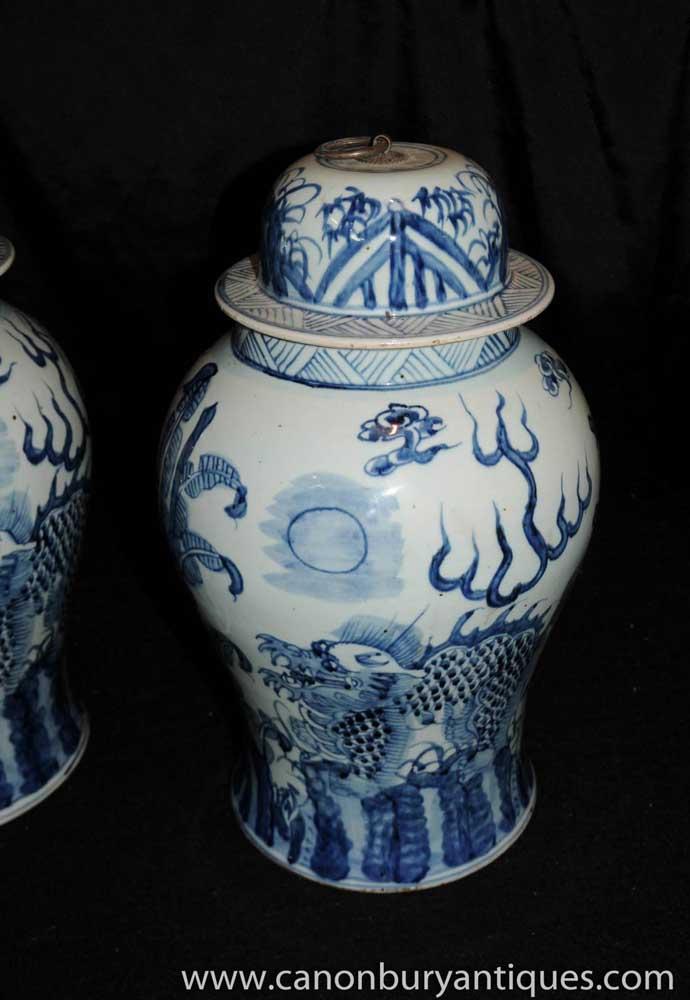 Blue And White Porcelain Ginger Jars Nanking Urns Pottery