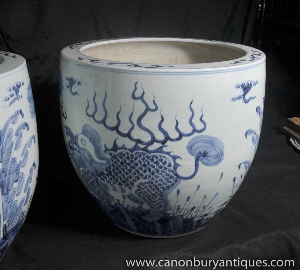 Blue And White Porcelain Planters Dragon Bowls Nanking Pottery