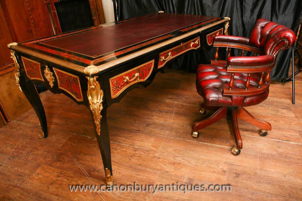 Boulle Desk Bureau Plat Writing Table With Captains Chair