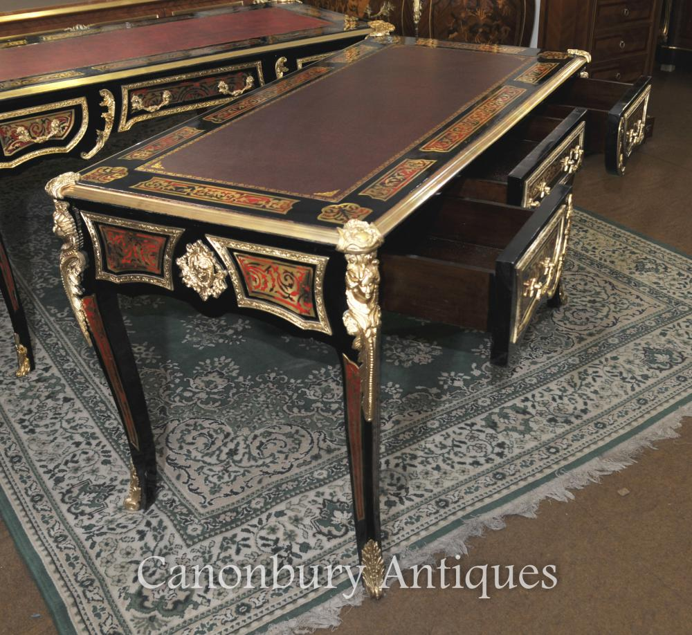 boulle desk writing table buhl inlay french bureau plat ebay. Black Bedroom Furniture Sets. Home Design Ideas