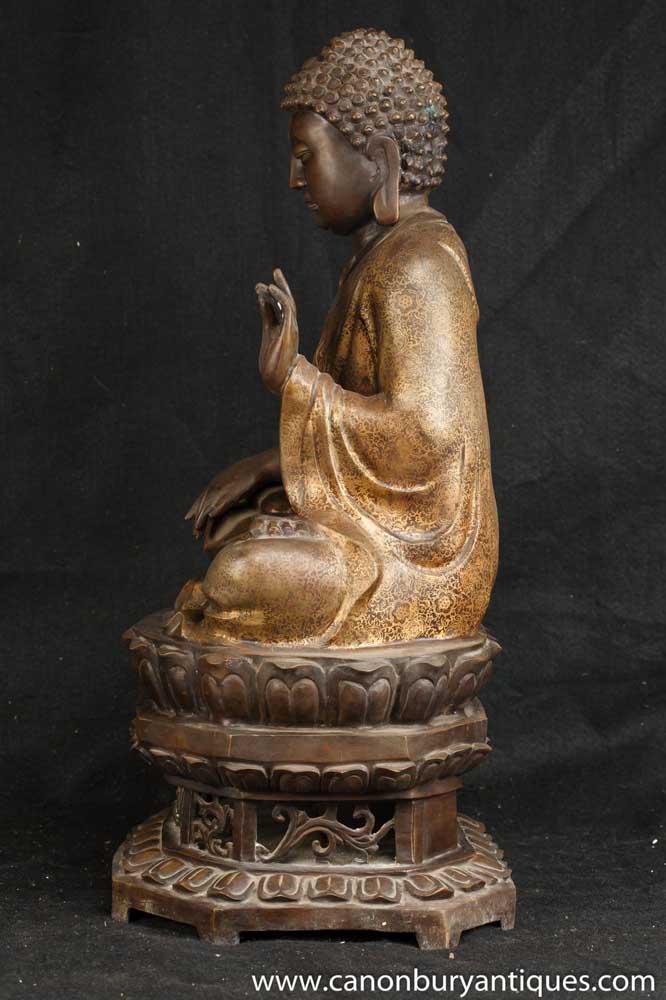 Bronze Burmese Buddha Statue Meditation Pose Buddhist
