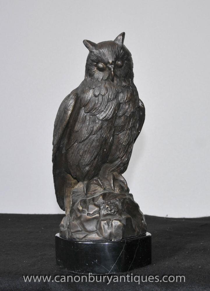 Bronze Eagle Owl Statue Birds Of Prey Casting