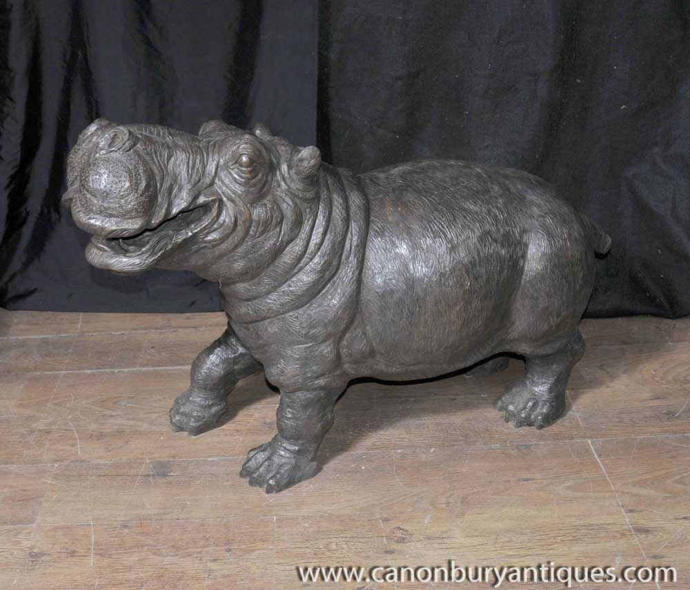 Bronze hippo hippopotamus fountain sculpture statue for Objet decoration hippopotame