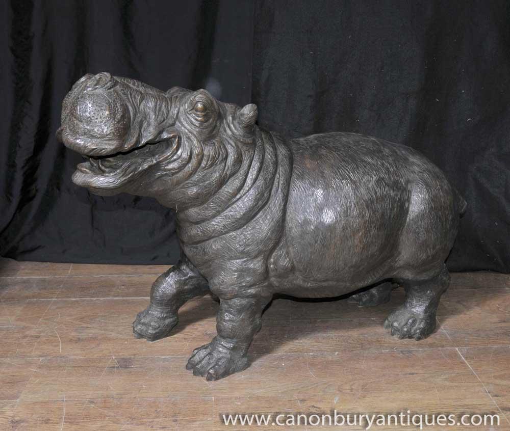 Bronze Hippo Hippopotamus Fountain Sculpture Statue