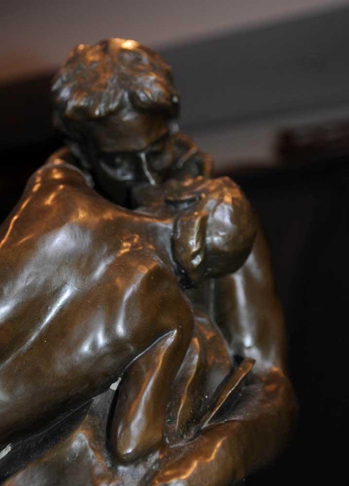 Bronze The Kiss Statue Rodin Male Female Love Figurine-6837