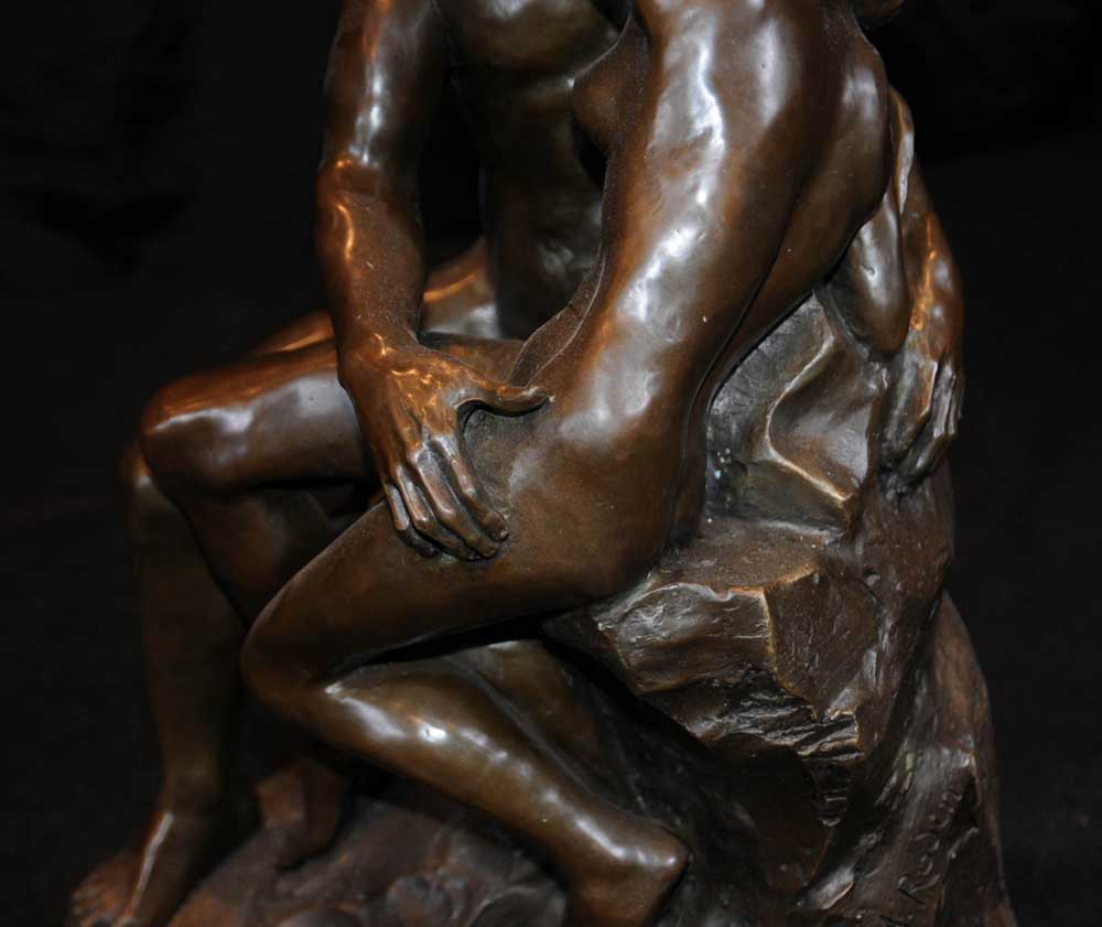 Bronze The Kiss Statue Rodin Male Female Love Figurine-7944