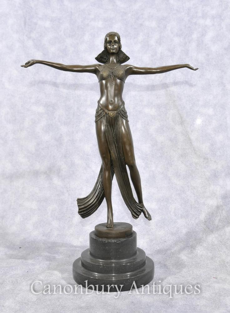 Bronze Art Deco Statue Figurine by Joe Descomps French