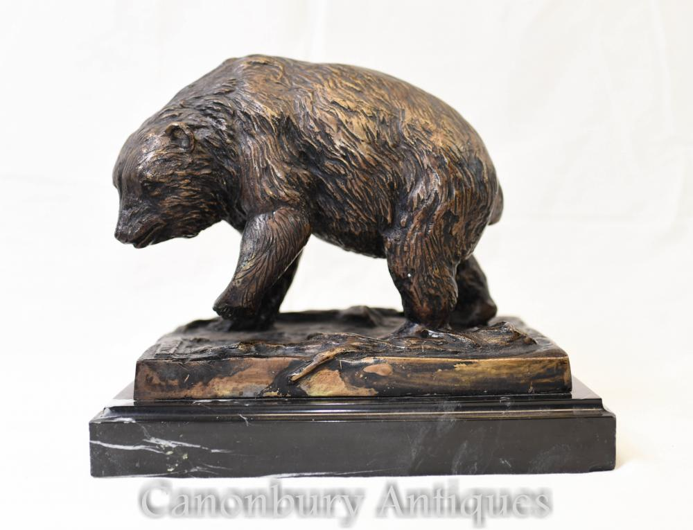 Bronze Bear Statue Signed Prince Brown Bears Animals Casting