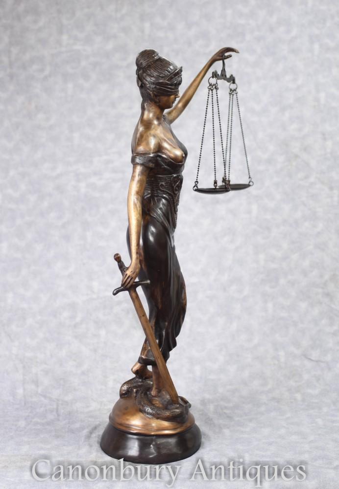 Bronze Casting Lady Justice Statue Blind Figurine Roman