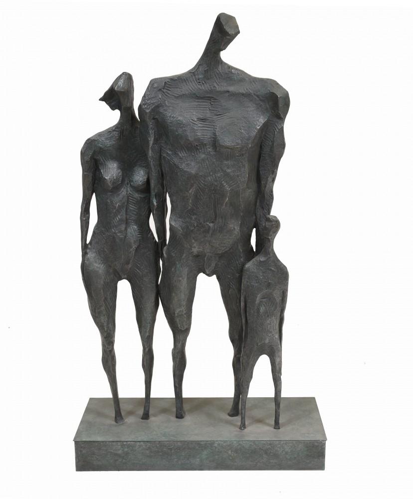 Bronze Familienfigur Modernistische Abstrakte Kunst Statue Giacometti