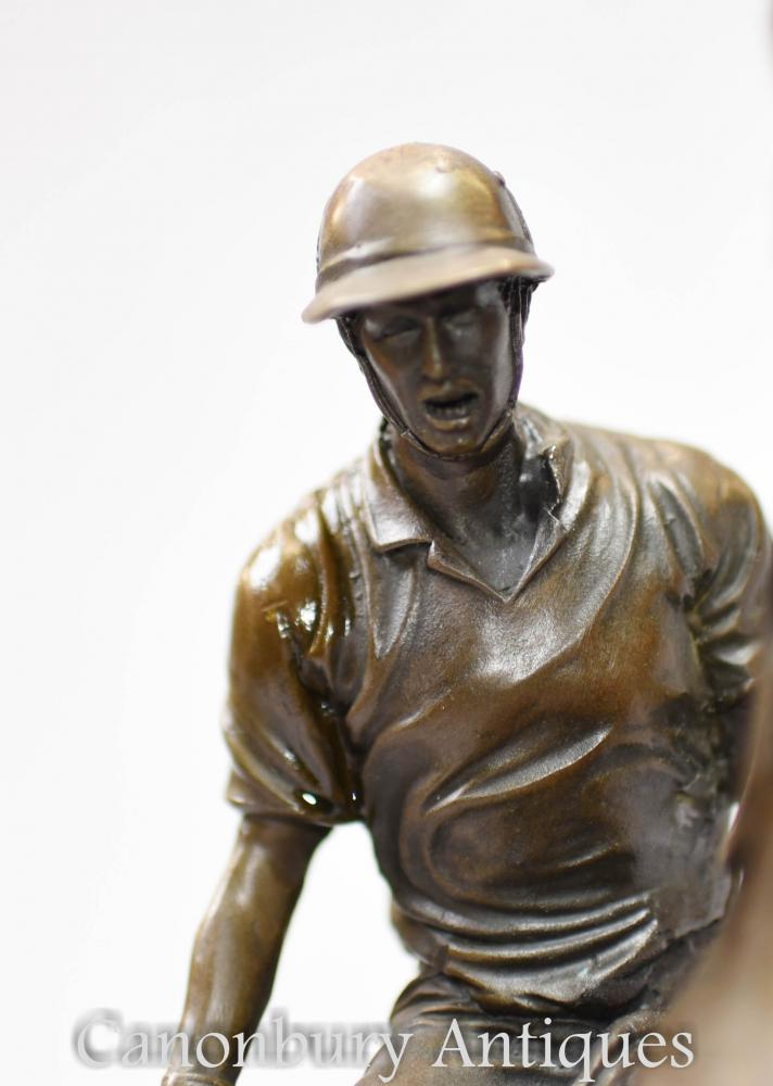 Bronze Polo Player Statue Horse Jockey Figurine Casting