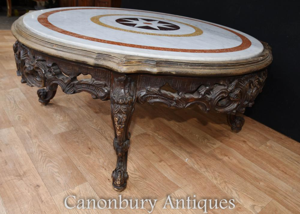 Carved italian rococo coffee table round marble top for Stone topped coffee tables