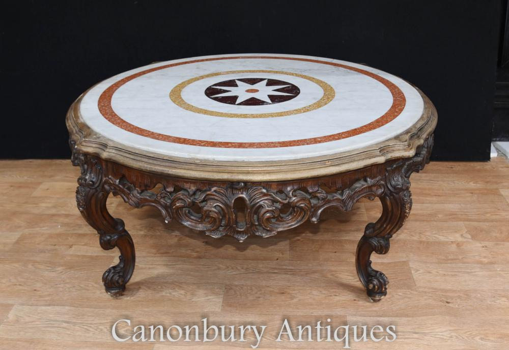 Carved italian rococo coffee table round marble top Round marble coffee tables
