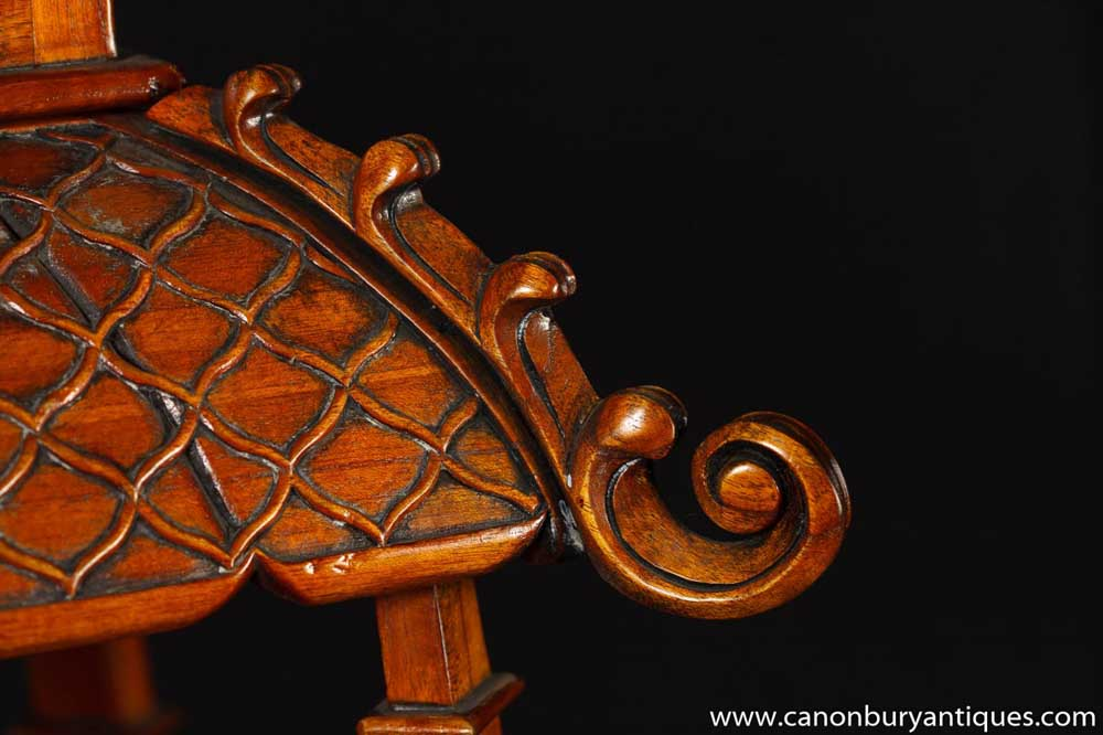 Chinese Chippendale Carved Oak Pagoda Shelf Unit Bookcase