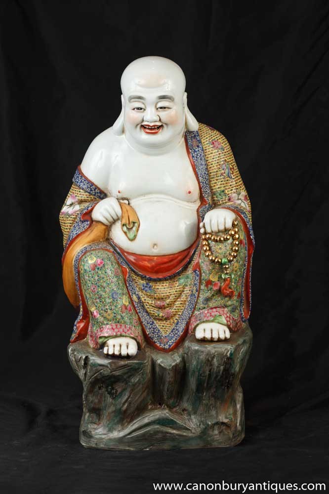 Chinese Famille Rose Porcelain Buddha Statue Figurine