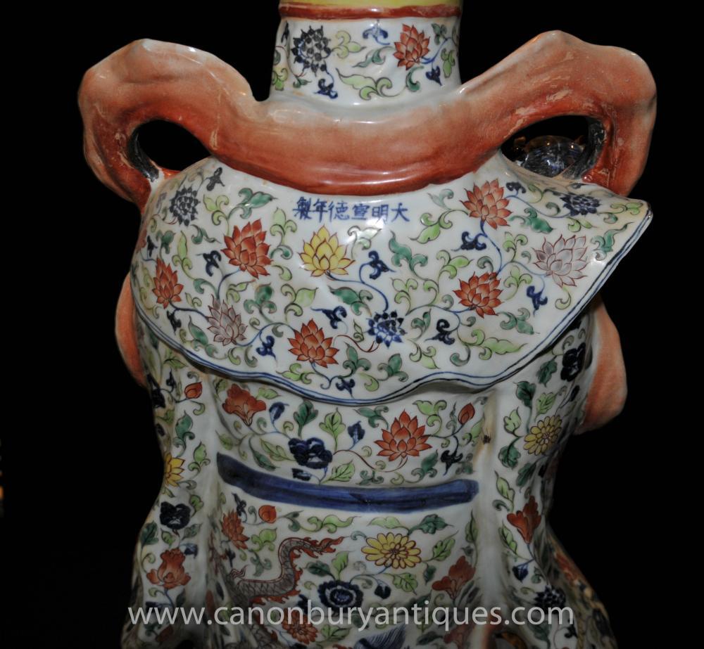 Chinese Wucai Porcelain Buddhist Figurine Male Statue