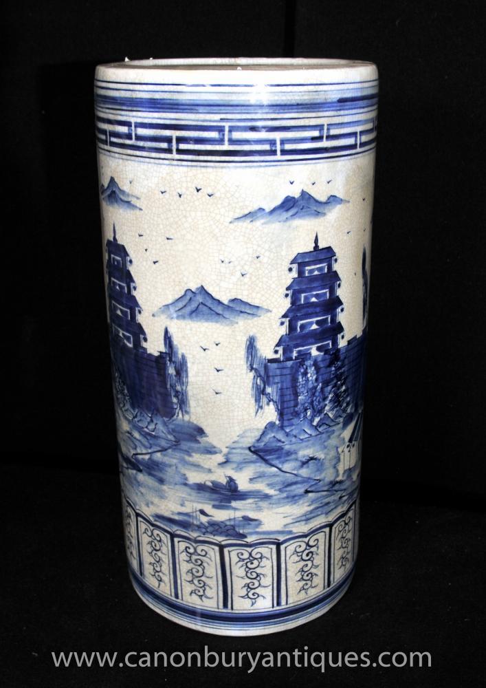 Chinese Blue White Kangxi Porcelain Umbrella Stand Urn