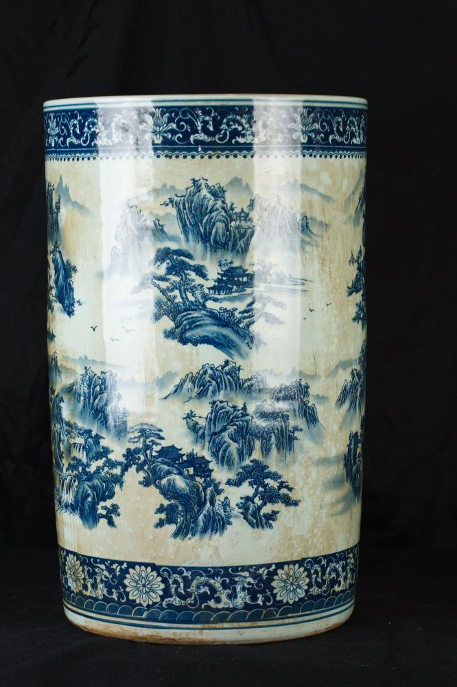 Chinese Blue And White Nanking Porcelain Umbrella Stand