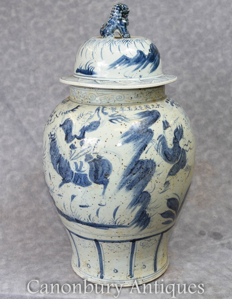 Chinese Blue And White Porcelain Vase Lidded Nanking Ginger Jar Urn