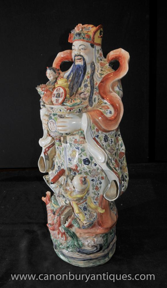 Chinese Porcelain Wise Man Figurine Hand Painted Pottery
