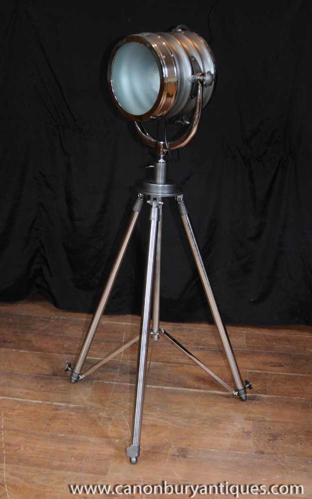 Chrome Tripod Floor Lamp Architectural Lighting Light